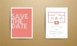 Rustic wedding cartoon bride and groom couple invitation card on wood background