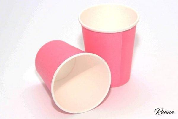 כוסות קרטון בצבע ורוד