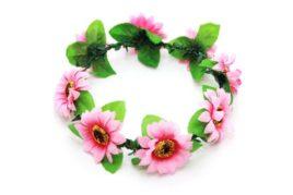 זר פרחים לראש בצבע ורוד