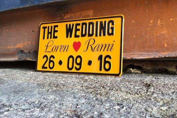 לוחית רישוי לחתונה