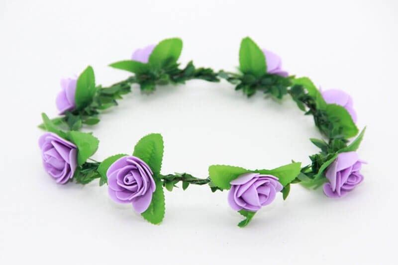 זר פרחים לראש בצבע סגול