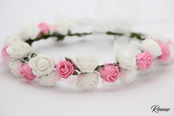 זר פרחים לראש ורוד לבן