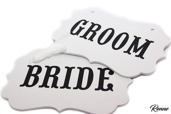 שלטים BRIDEGROOM לבנים