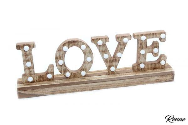 אותיות LOVE מעץ מוארות