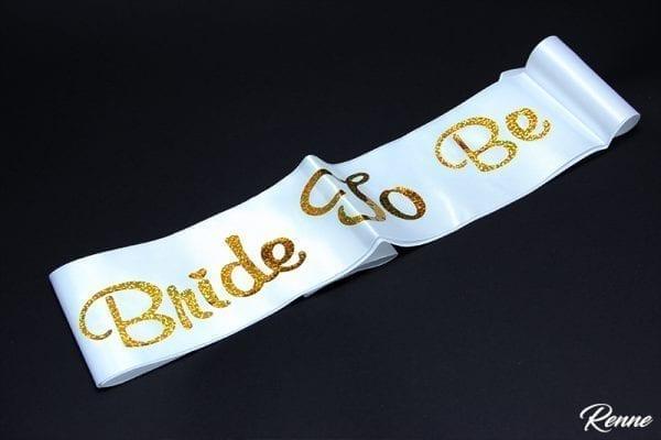 סרט כלה bride לבן זהב