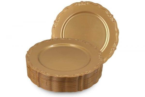 צלחות וינטג' מעוצבות זהב