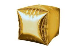 בלון מיילר בצורת קוביית תלת מימד בצבע זהב