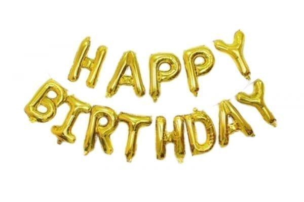 בלוני happy birthday זהב