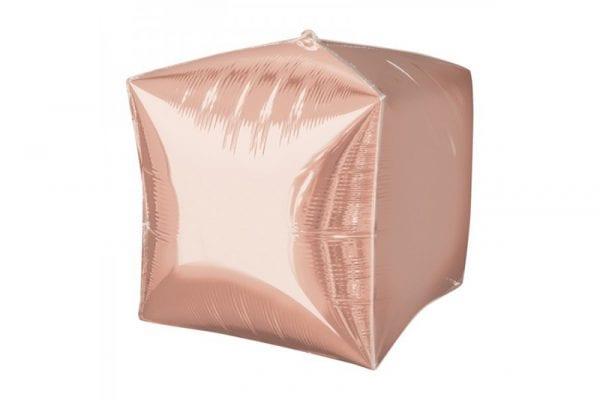 בלון מיילר בצורת קוביית תלת מימד בצבע רוז-גולד