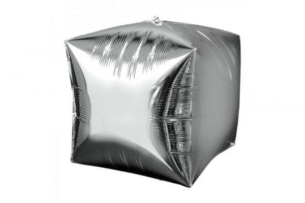 בלון מיילר בצורת קוביית תלת מימד בצבע כסף