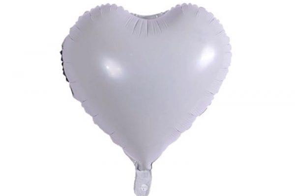 בלון מיילר בצורת לב בצבע לבן