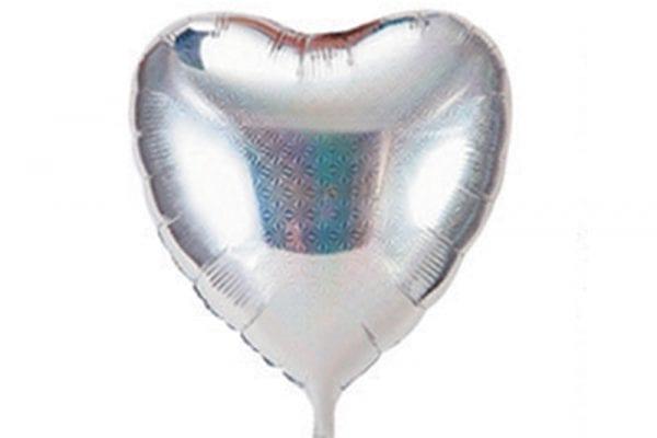 בלון מיילר בצורת לב בצבע כסף