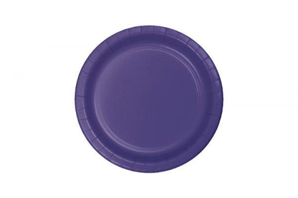 צלחות חד פעמי עגולות קטנות - סגול