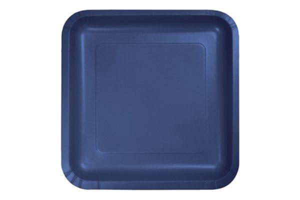 צלחות מרובעות כחול גדול
