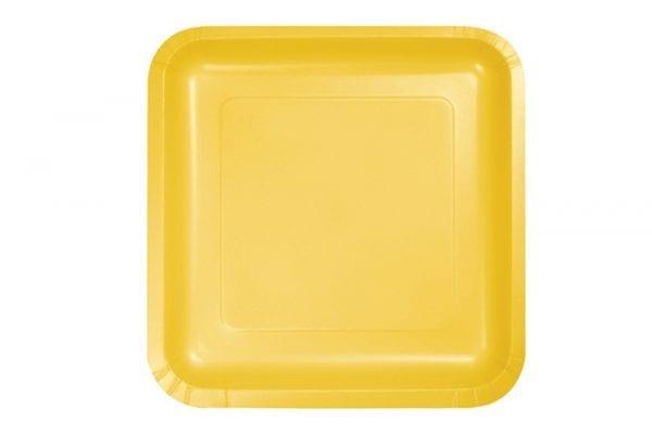 צלחות חד פעמי מרובעות גדולות - צהוב