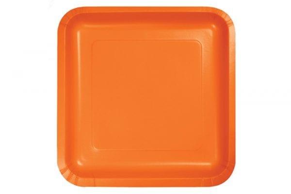 צלחות חד פעמי מרובעות גדולות - כתום
