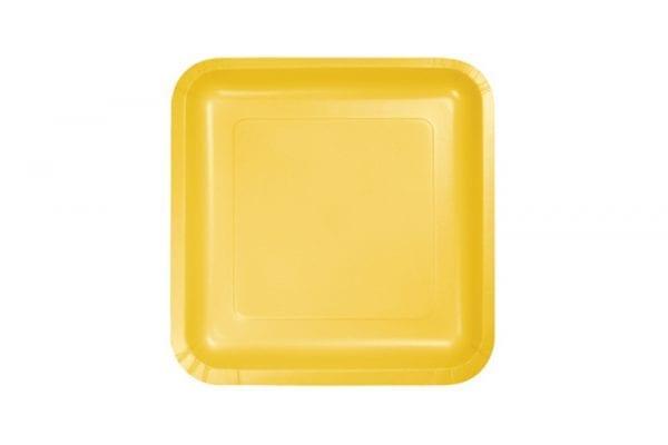 צלחות חד פעמי מרובעות קטנות - צהוב