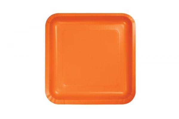 צלחות חד פעמי מרובעות קטנות - כתום
