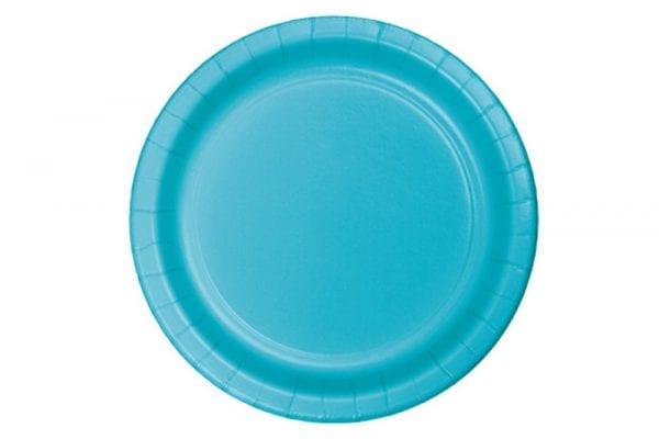 צלחות חד פעמי עגולות גדולות - כחול ברמודה