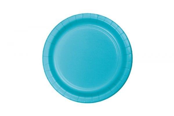 צלחות חד פעמי עגולות קטנות - כחול ברמודה