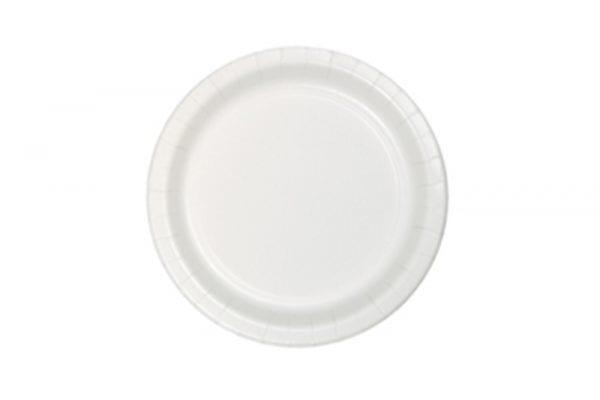 צלחות חד פעמי עגולות קטנות - לבן