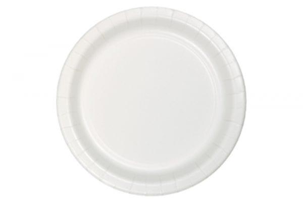 צלחות חד פעמי עגולות גדולות - לבן