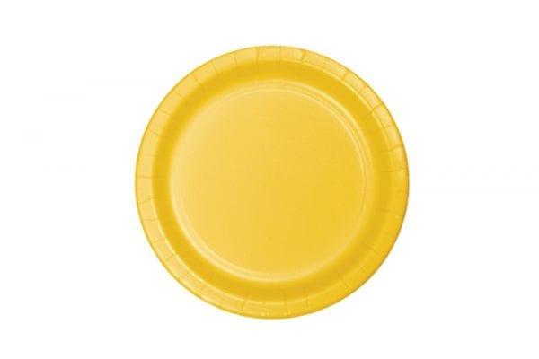 צלחות חד פעמי עגולות קטנות - צהוב
