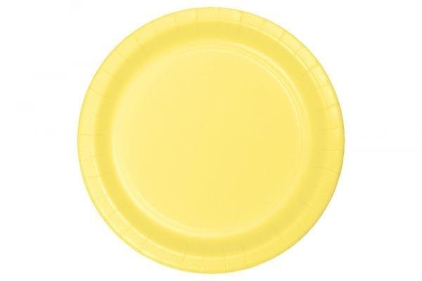 צלחות חד פעמי עגולות גדולות - בננה
