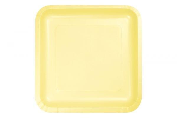 צלחות מרובעות גדולות צהוב