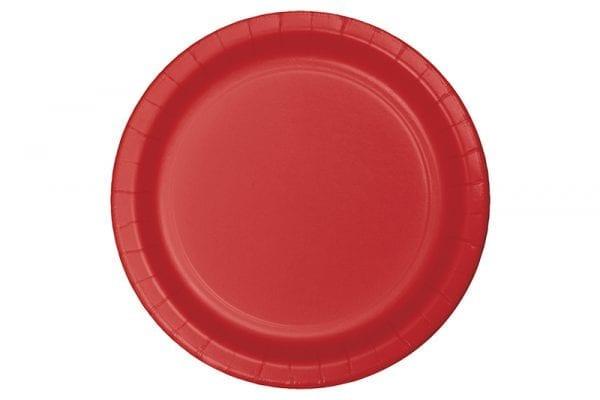צלחות חד פעמי עגולות גדולות - אדום
