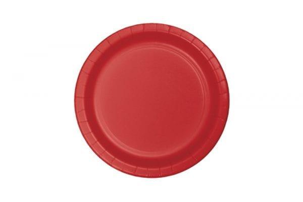 צלחות חד פעמי עגולות קטנות - אדום