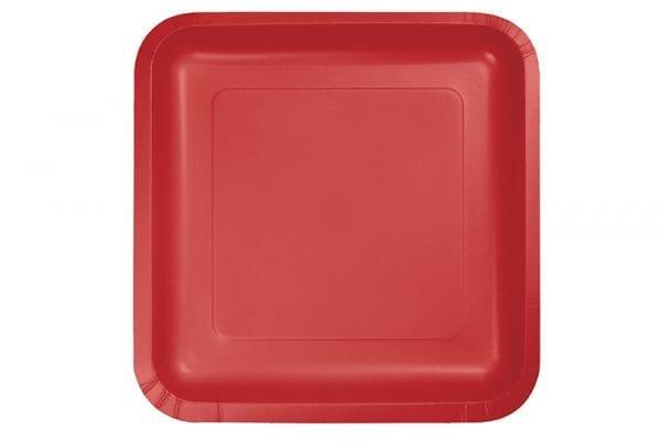 צלחות חד פעמיות אדומות גדולות