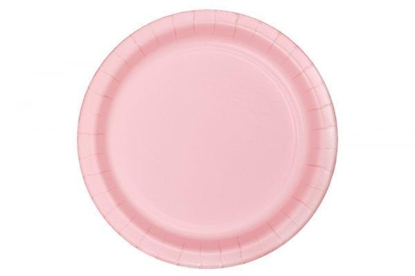 צלחות חד פעמי עגולות גדולות - ורוד בייבי