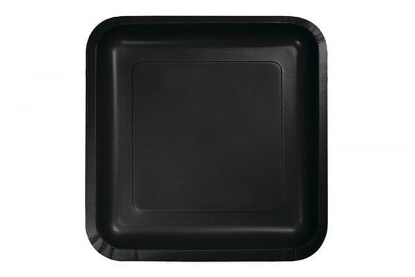צלחות ריבוע שחורות גדולות