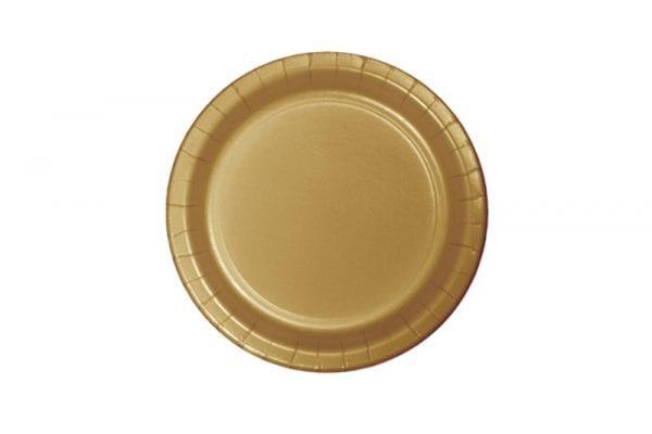 צלחות חד פעמי עגולות קטנות זהב