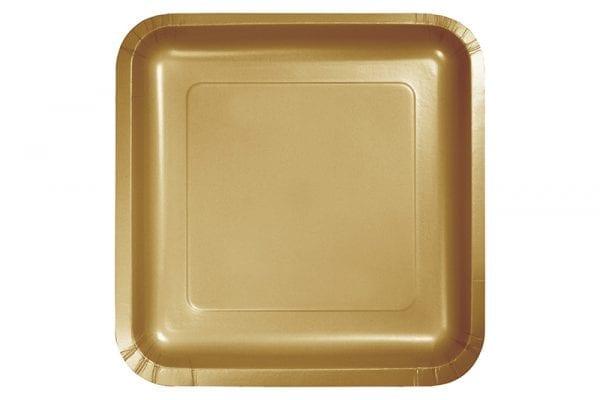 צלחות חד פעמי מרובעות גדולות זהב