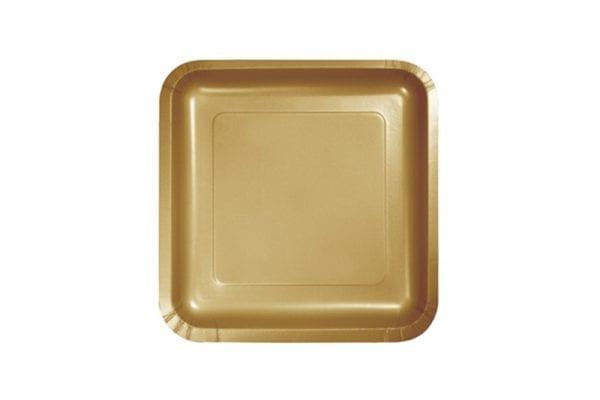 צלחות חד פעמי מרובעות קטנות זהב