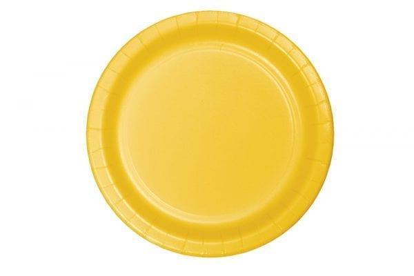 צלחות חד פעמי עגולות גדולות - צהוב