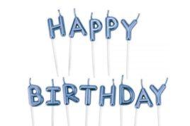 נרות לעוגה - Happy Birthday כחול