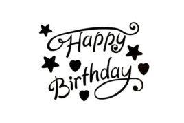 מדבקות לבלונים Happy birthday שחור