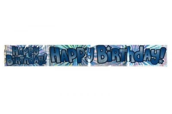 כרזת יום הולדת Happy Birthday כחולה