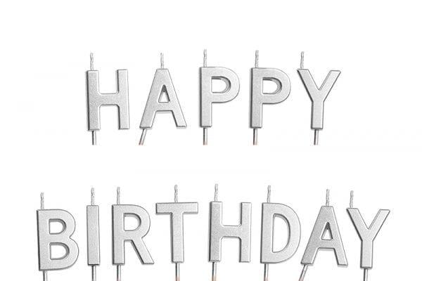 נרות לעוגה - Happy Birthday כסף