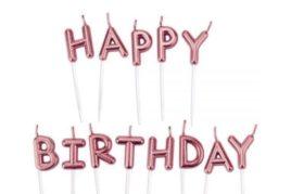 נרות לעוגה - Happy Birthday רוז גולד