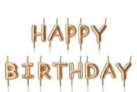 נרות לעוגה - Happy Birthday זהב