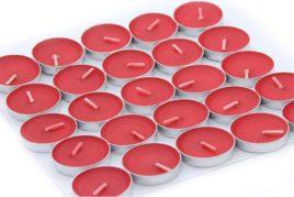 נרות עגולים בצבע אדום